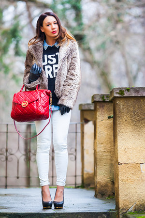 black and white Zara sweater - faux fur vintage coat