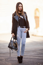 wool leather Zara coat - suede Stradivarius boots - leather balenciaga bag