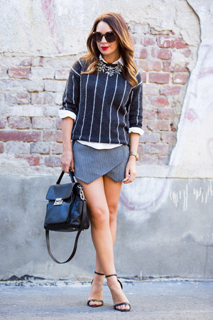 black Michael Kors bag - dark gray Mango sweater - white Topshop shirt