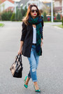 Navy-mango-jeans-dark-green-zara-scarf-black-celine-bag