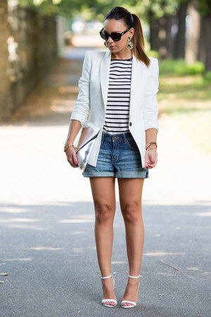 white tailored Zara blazer - silver silver clutch Choies bag