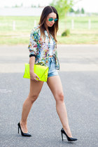 hot pink floral bomber Zara jacket - yellow clutch neon Zara bag