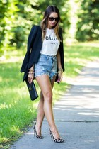 black Zara blazer - white Sheinside shirt - black clutch Saint Laurent bag
