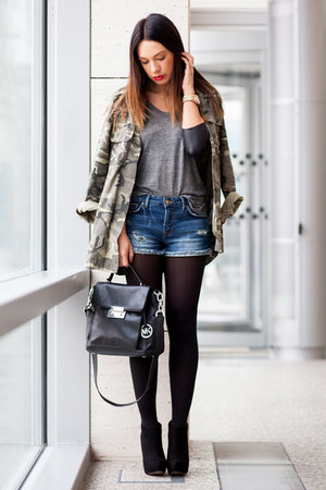 dark green Zara jacket - black suede Stradivarius boots