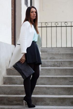 black skater skirt Mango skirt - white Zara coat