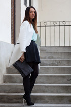 black skater skirt Mango skirt - white Zara coat