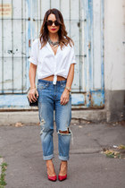white oversized Zara shirt - blue H&M jeans - ruby red Saint Laurent heels