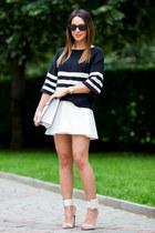 white Zara bag - black striped Zara sweater - white asos skirt