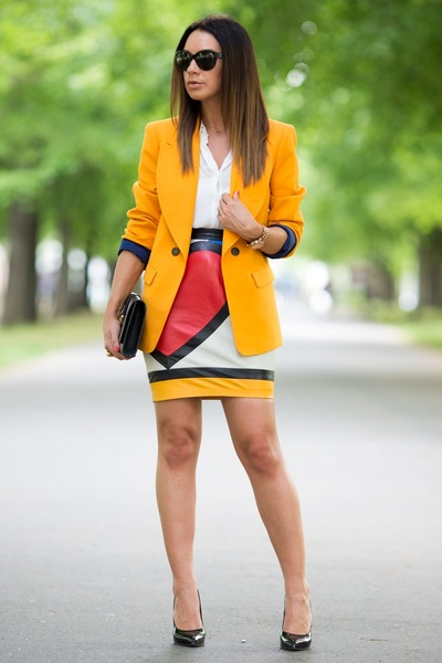 red Moschino skirt - gold Zara blazer - blue Saint Laurent bag