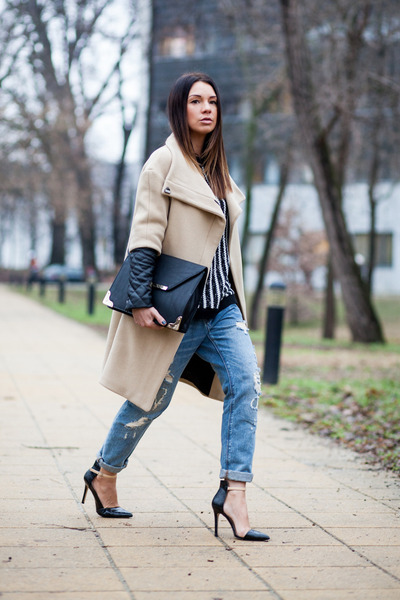 camel wool leather Zara coat - blue ripped Zara jeans