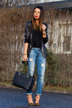 black sequin Zara blazer - blue Zara jeans - black leather Chanel bag