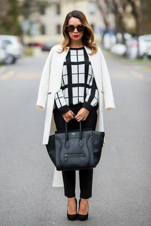 white Forever 21 sweater - black Celine bag - black Giuseppe Zanotti heels