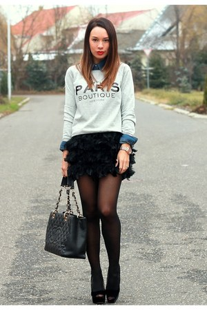 feather Stradivarius skirt - cotton Mango sweater - denim H&amp;M shirt