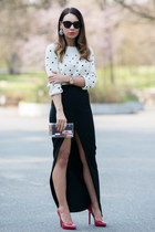 ivory Zara sweater - black split maxi asos skirt