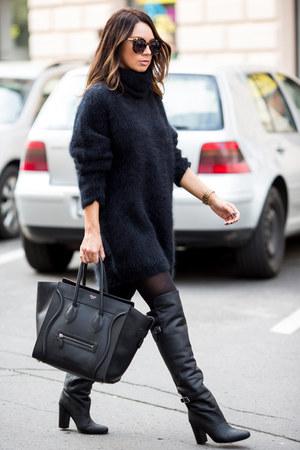 black H&M sweater - black knee-high boots H&M boots - black Celine bag