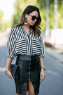 White-striped-zara-blouse-black-leather-zara-skirt-black-saint-laurent-heels