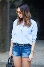 Blue-zara-shorts-light-blue-chambray-zara-shirt-black-balenciaga-bag