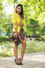 Black-leather-saint-laurent-bag-deep-purple-h-m-dress-yellow-zara-blazer