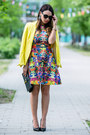 Deep-purple-h-m-dress-yellow-zara-blazer-black-leather-saint-laurent-bag