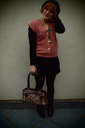 pink vintage vest - black Dotti dress - blue Sportsgirl hat - black botika boots