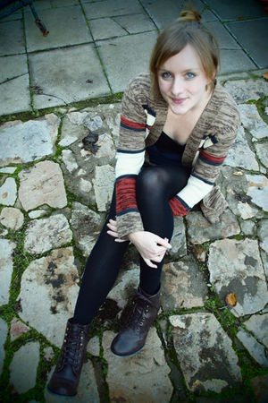 orange cotton on cardigan - brown rubi boots