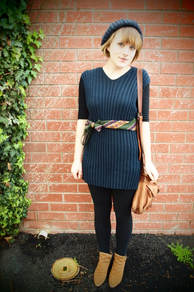 brown thrifted boots - blue v-neck knit thrifted dress