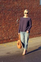 blue Gap jeans - navy Gap sweater - camel Onna Ehrlich purse