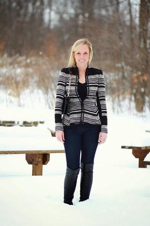 black peplum tweed Rebecca Taylor jacket - black stuart weitzman boots