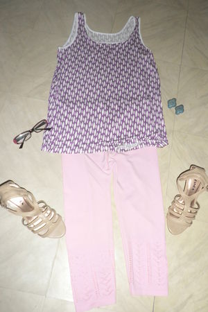 purple shirt - beige shoes - pink sunglasses - blue earrings - pink leggings