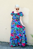 burnt orange vintage Nordstrom sunglasses - teal vintage maxi Hilo Hattie dress
