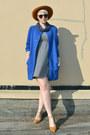 Blue-choies-coat-dark-brown-oasap-sunglasses-mustard-madewell-flats