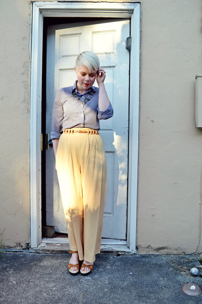 light yellow vintage palazzo pants - camel Forever21 sandals