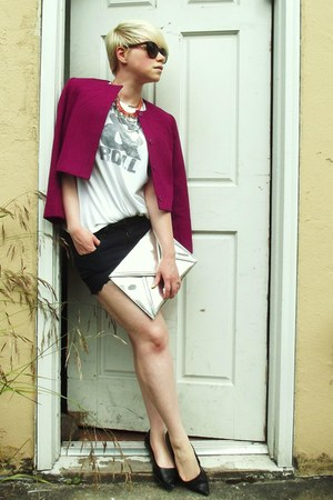 magenta wool vintage jacket - silver H&M bag - black diy BDG shorts