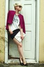 Magenta-wool-vintage-jacket-silver-h-m-bag-black-diy-bdg-shorts