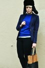 Black-fur-hat-navy-h-m-blazer-tawny-leather-h-m-bag-black-bdg-pants