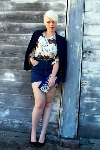 off white silk vintage blouse - navy H&M blazer - blue clutch Target bag