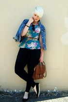 turquoise blue peplum Forever 21 top - navy denim Gap jacket