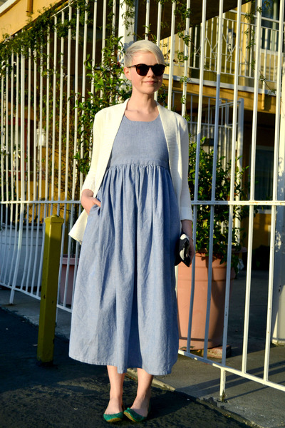 periwinkle chambray dress - navy polka dot hansel from basel bag