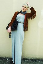 tawny suede vintage jacket - heather gray maxi H&M dress