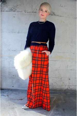 navy vintage sweater - silver vintage heels - red vintage wool Pendleton skirt