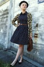 Navy-polka-dot-forever21-dress-black-beret-american-apparel-hat