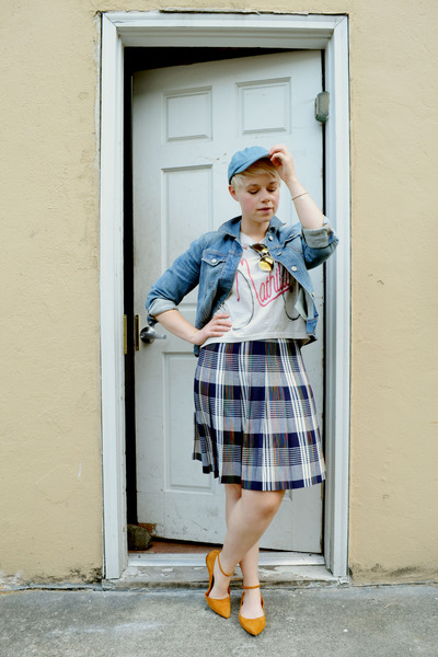 navy vintage plaid skirt - blue Gap jacket - burnt orange suede madewell flats