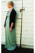 aquamarine Forever21 dress - tan ankle strap Chloe flats - navy cotton jersey JC