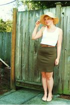 beige Gap hat - white H&M top - brown belt - green American Apparel skirt - beig