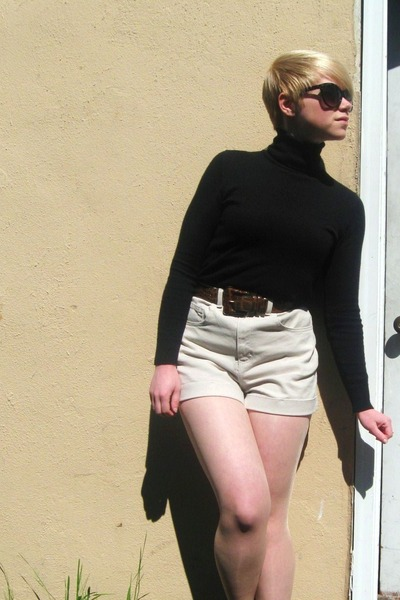 black Gap shirt - beige American Apparel shorts - dark green Forever21 sunglasse
