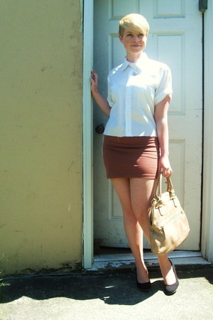 white diy Nordstrom shirt - burnt orange H&amp;M skirt - black Cooperative wedges