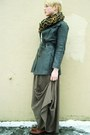 Light-brown-maxi-forever21-skirt-gray-vintage-leather-coat