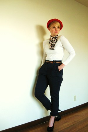 red vintage hat - white Gap shirt - navy H&amp;M pants - black forever21 Bamboo heel