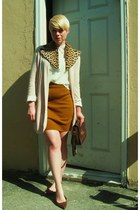 beige scarf - brown classic coach purse - bronze knit skirt
