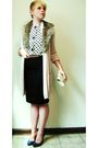 Brown-scarf-black-top-brown-belt-pink-gap-cardigan-black-j-crew-skirt-